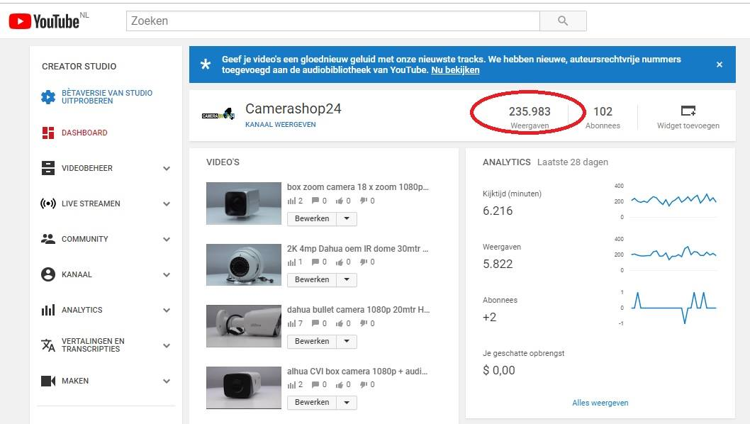 YouTube views Camerashop24