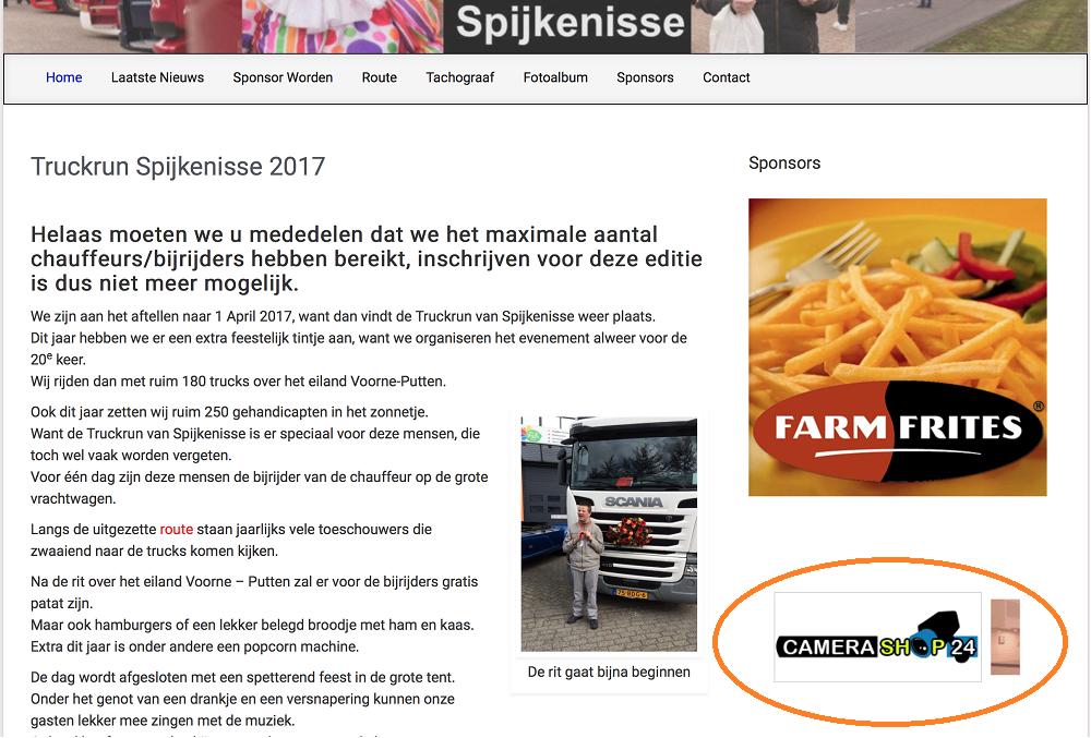 Camerashop24 sponsort de Truckrun